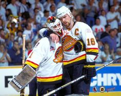 Iconic image: Canucks captain Trevor Linden hugs goalie Kirk McLean, after Canucks lost game 7 of the 1994 Stanley Cup finals to the NY Rangers Vancouver Canucks, Canada Hockey, Stanley Cup Finals, Hockey Teams, Hockey Stuff, Hockey Logos, Nfl Fans, Sports Figures, National Hockey League