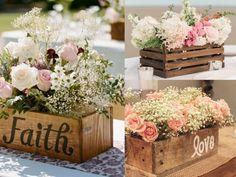 cajas de madera como centro de mesa