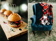 Inspired by Ralph Lauren, plaid prints and rich tones, this scene is set for the perfect fall affair by Kristin Ashley Events! The mood was enchanting with candlelight and gold accents at Pecan Grove. Salt Lick BBQ made these delicious appetizers while Remi and Gold created a dreamy floral arrangement and bouquet full of romantic rich details. You can find this cozy chair and blanket at Loot Vintage Rentals. Cheers to such a talented team!