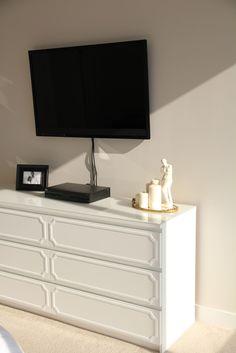 Malm dresser as TV stand with O'verlays - IKEA Hack DIY