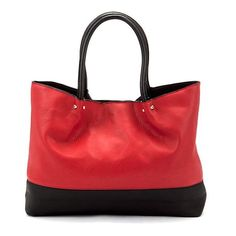 Red and Black Panel Tote Bag ❤ liked on Polyvore