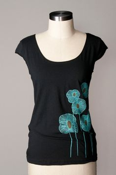 women's shirt - abstract flower shirt - screenprinted pineapple flowers - American Apparel scoop neck - cap sleeves - black - FREE SHIPPING