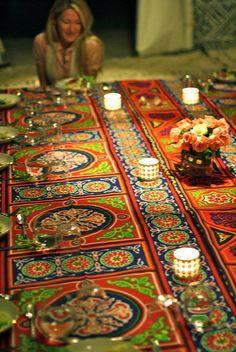 Table setting at Peacock Pavilions, Marrakesh.
