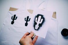 Kaktus Druckvorlage DIY | Shirt bedrucken selbstgemacht | Gratis Druckvorlage Kaktus und Katze und Tutorial von Kluntjebunt mit Zalando DIY Batik, T Shirt Diy, Hobbies, Tutorials, Paint, Pattern, Fashion, Painting On Fabric, Girls Girls Girls