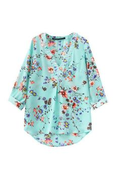 Casual Country Flower V-Neck Shirt