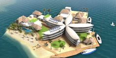 World's first floating city might be built off the French Polynesian coast Floating Architecture, Sustainable Architecture, Architecture Design, French Architecture, Floating Island, Floating House, Floating Cities, Futuristic Home, Climate Change Effects