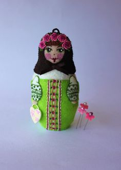 Matryoshka  Hand Embroidered Felt with by TheSnowQueensGarden, $37.50