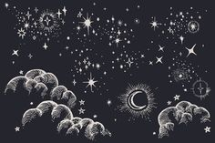 Star, Moon, Cloud, Sky Drawings by Feanne on Creative Market - Gaby Navarro - Astrology party Gem Drawing, Drawing Stars, Cloud Drawing, Night Sky Drawing, Logos Vintage, Vintage Graphic, Air Balloon Festival, Constellation Map, Star Illustration