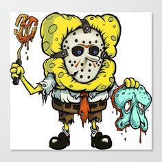 Spongebob Horror Canvas Print by pauloarte Spongebob Tattoo, Spongebob Drawings, Horror Cartoon, Zombie Cartoon, Cartoon Kunst, Cartoon Art, Cartoon Graffiti, Cartoon Wallpaper, Wie Zeichnet Man Spongebob