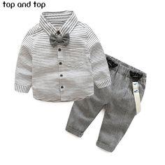 2016 primavera outono bebés meninos set roupas Cavalheiro camisa da longo  luva stripe Bow tie + a96714b0cb9