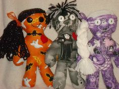 """All Halloween themed Dolls ONLY $10.00 the remainder of October, they make GREAT Gifts. . .see our FACEBOOK PAGE for more designs,"""" LIKE"""" to be entered into our monthly contests"""