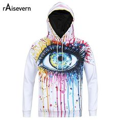 Raisevern New Men Women Unisex 3D Hoodies Oil Painted Big Eye Funny Print Hooded Sweatshirt Hip Hop Hoody Tops Plus Size M-3XL - Men's Hoodies & Sweatshirts