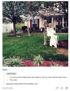 Peaceful Halloween decorations swing old couple sweet