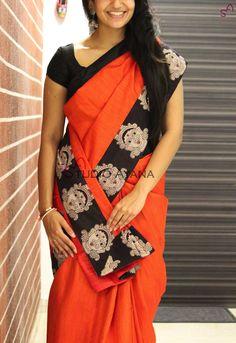Indian Beauty Kalamkari Print Border With Kalamkari Blouse Saree Kalamkari Dresses, Ikkat Dresses, Kalamkari Saree, Saree Models, Blouse Models, Designer Silk Sarees, Indian Designer Wear, Womens Western Wear Dresses, Silk Saree Kanchipuram