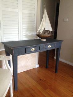 Vintage hall table freshly painted in Annie Sloan graphite