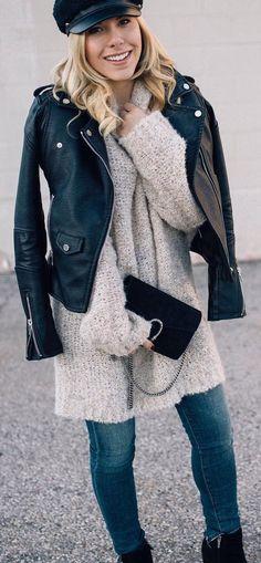 #winter #fashion / Black Leather Jacket + White Oversized Wool Knit