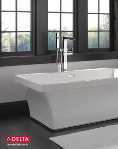 The distinct silhouette of the Everly Freestanding Tub makes it a standout piece for the bath. Freestanding Tub, Delta Faucets, Bathroom Inspiration, Contemporary Design, Bathrooms, Gardens, House Design, Silhouette, Diy