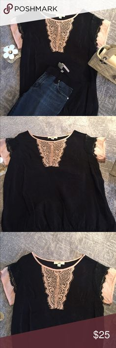 YA black/pink semi sheer top Black semi sheer top w black and light pink lace detail at neck and sleeves. Has an elastic waist bottom. Excellent condition. Cotton/Polly blend. Ya Los Angeles Tops Tees - Short Sleeve
