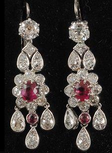 Platinum set natural Burmese ruby and diamond Edwardian drop earrings 1910c hard to find