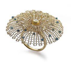 Ring | Sowon Joo.  18k yellow gold, diamonds, colour diamonds