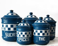 Lovely French set of five CHECKERED ENAMEL CANISTERS - Lustucru style on Etsy, $165.00