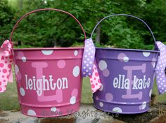 TWO Personalized Easter Bucket Baskets by happythoughtsgifts, $56.00