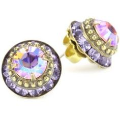 Sorrelli Harmony Stacked Circular Stud Antique Gold-Tone Earrings - designer shoes, handbags, jewelry, watches, and fashion accessories