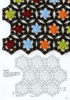 Livre: Continuous Crochet Motifs 2016 (Seamless Knitting) - hand made 6 - Couture Crochet Motifs, Crochet Blocks, Crochet Flower Patterns, Crochet Diagram, Crochet Doilies, Crochet Flowers, Crochet Lace, Crochet Stitches, Crochet Stars