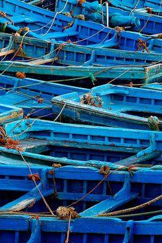 Fishing boats in Essaouira, Morocco Marrakech, Love Blue, Blue And White, Blue Boat, Fishing Boats, Shades Of Blue, Beautiful Images, Sailing, Blues