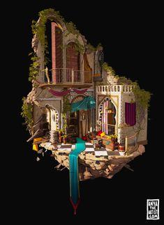 The art of AnyaTheArtist. Anya Jo Elvidge is a passionate environment artist working in games. Game Environment, Environment Concept, Environment Design, Prop Design, Game Design, Fantasy Landscape, Fantasy Art, Building Concept, 3d Building