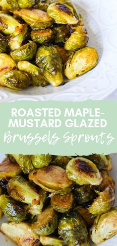 Roasted Maple-Mustard Glazed Brussels Sprouts via Chef Julie Harrington, RD - Vegetable Recipes Healthy Holiday Recipes, Healthy Vegetable Recipes, Sprout Recipes, Healthy Vegetables, Roasted Vegetables, Vegetarian Recipes, Pork Recipes, Diet Recipes, Roasted Sprouts