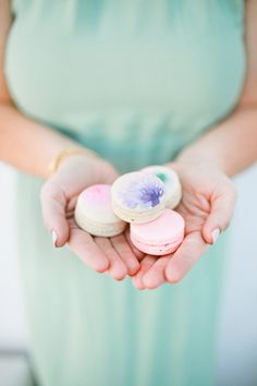 Delight your guests with delicate hand-painted macarons.