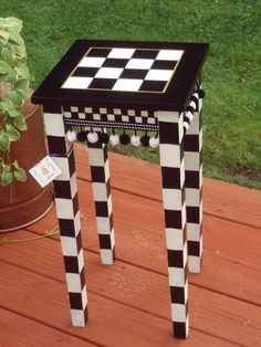 Hand Painted Black and White Checked Accent ♥ by paintingbymichele