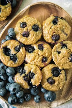 Sweet Potato Banana And Blueberry Muffins. A sweet muffin made with a base of mashed sweet potato and banana, then topped with blueberries.