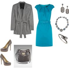 Beautiful way to brighten up a dreary back to work Monday.  Structured dress in a bright color (turquoise?!) with slate accessories.