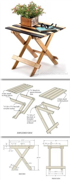 Folding Table Plans - Furniture Plans and Projects | http://WoodArchivist.com