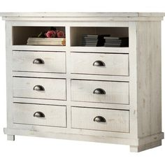 Perfect for stowing linens in the guest room or seasonal apparel in the master suite, this handsome dresser showcases 9 drawers and weathered details for a vintaged touch.