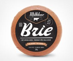 Today's first design inspiration is a packaging design for Milkbar Cheese., I think the round shape of the cheese played to the advantage of the designer. Dairy Packaging, Cheese Packaging, Cool Packaging, Brand Packaging, Design Packaging, Brie, Charcuterie, Queso Fresco, Identity