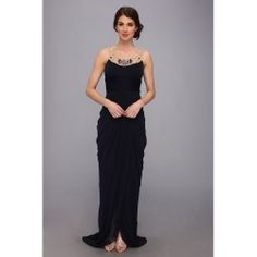 Adrianna Papell - Long Goddess Necklace Dress (Ink) - Apparel - product - Product Review