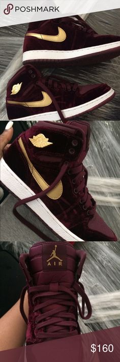 "Air Jordan 1's ""Heiress"" Night Maroon Nearly perfect condition. Only slight dents at the tip of the shoe as seen in the photos above. Only have been worn five times. Been keeping these stored away in the closet for special occasions. Jordan Shoes Sneakers"