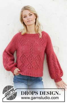 Women - Free knitting patterns and crochet patterns by DROPS Design Lace Knitting Patterns, Lace Patterns, Free Knitting, Drops Patterns, Finger Knitting, Scarf Patterns, Knitting Tutorials, Drops Design, Lace Sweater
