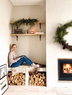 Renovation Diary: Our Living Room and Fireplace Revamp — Malmo & Moss Alcove Storage Living Room, Alcove Shelving, Living Room Shelves, New Living Room, Home And Living, Living Room Decor, Fireplace Living Rooms, Alcove Decor, Old Fireplace