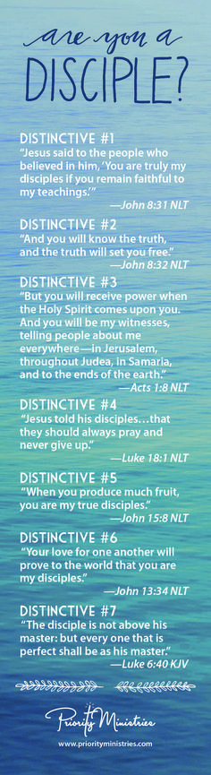 "What is a disciple? Are you one? Check out these 7 distinctives of discipleship from Laurie Cole's new biblestudy ""Are You A Disciple?"" find out more : http://www.priorityministries.com/womens-bible-studies/are-you-a-disciple/"