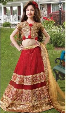 Red Color Net Circular Kids Girls Lehenga Cholis | FH467572767