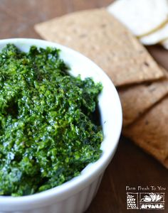 Cilantro-Parsley Pesto - This unique twist on pesto makes a great dip and is a fantastic way to use up any extra cilantro and parsley. (You can also use it like you would regular pesto and toss with your favorite pasta).