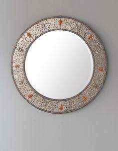 Round Bone Encrusted Silver Moroccan Mirror