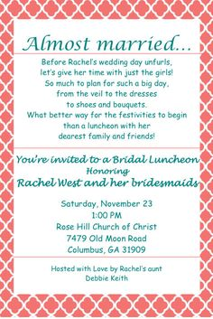 Bridal Luncheon Invitation by AnotherInvitation on Etsy, $12.00