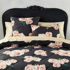 The Emily & Meritt Bed Of Roses Duvet Cover + Sham Black & Blush Bedding Sets Online, Luxury Bedding Sets, Console, Emily And Meritt, Black Bed Linen, Black Beds, Comforter Sets, Simple Bed, Yurts