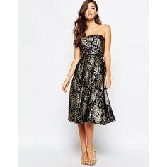 Chi Chi London Premium 2 In 1 Midi Prom Dress In Metallic Jacquard ($98) ❤ liked on Polyvore featuring dresses, navygold, bandeau dress, metallic dress, tall prom dresses, white bandeau dress and tall dresses