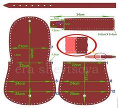 Bolsa hecha de cuero grueso con la correa sin necesidad de utilizar una máquina de coser.: